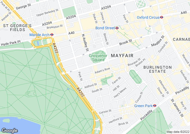 Map for Grosvenor Square, Mayfair, London W1K