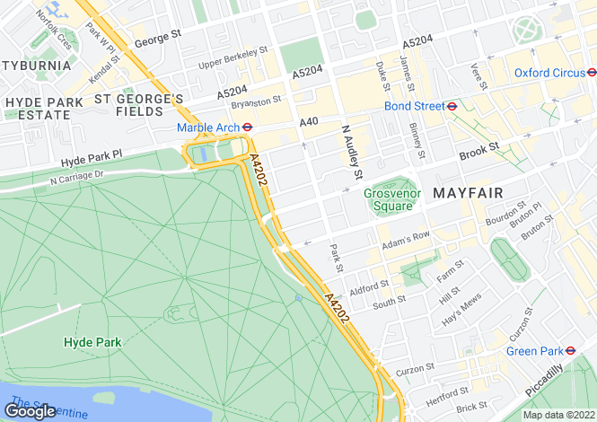 Map for Upper Brook Street, London, W1K