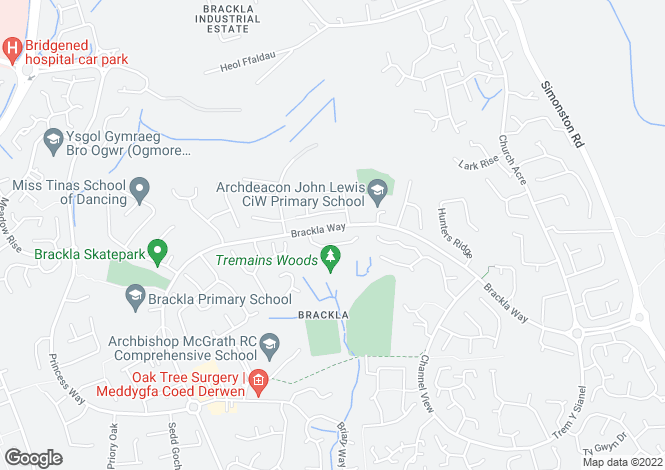 Map for Fenwick Drive, Brackla