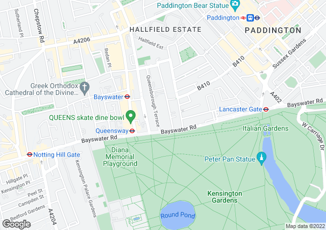 Map for Porchester Terrace, Bayswater, London W2