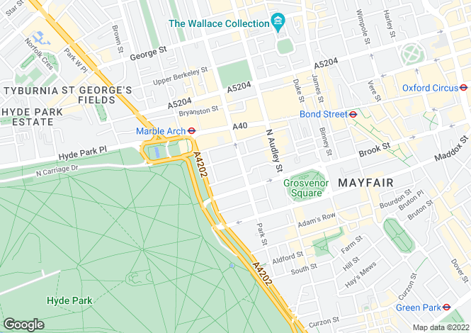 Map for Park Street, Mayfair, London W1K 7HU