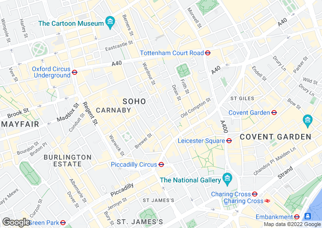 Map for Peter Street, Soho