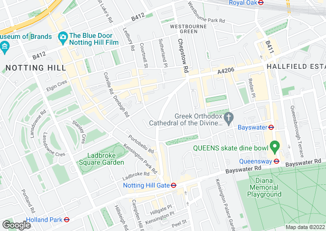 Map for Pembridge Villas, Notting Hill