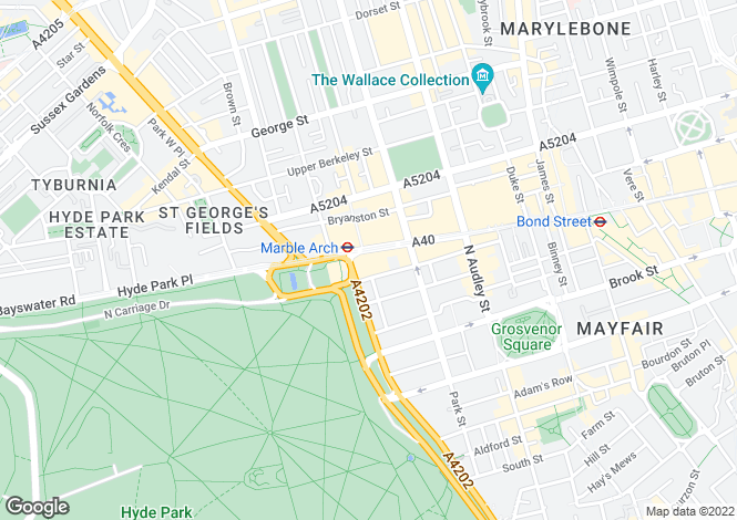 Map for Park Lane, Mayfair, London W1