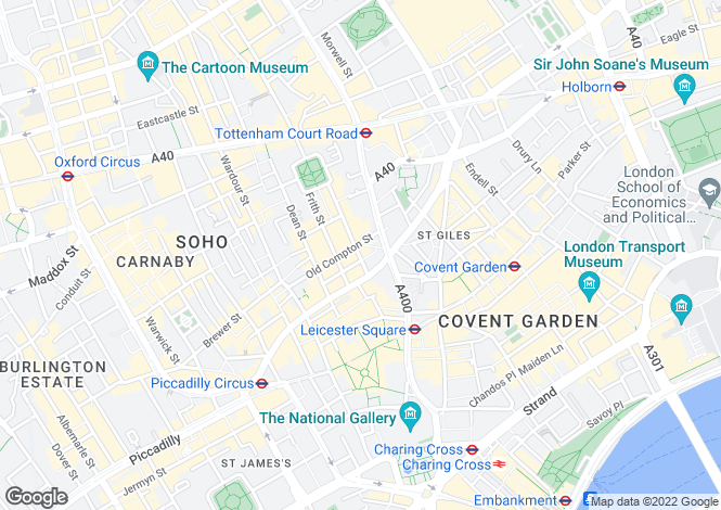 Map for Greek Street, Soho, London, W1D