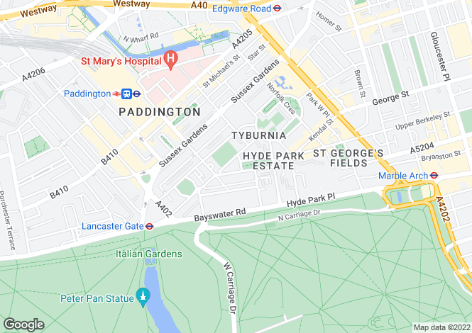 Map for Hyde Park Square, Hyde Park Square, W2