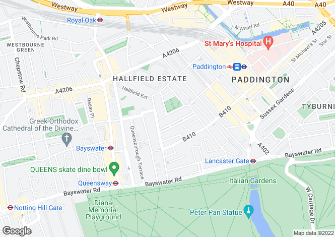 Map for Cleveland Square, Bayswater, London, W2