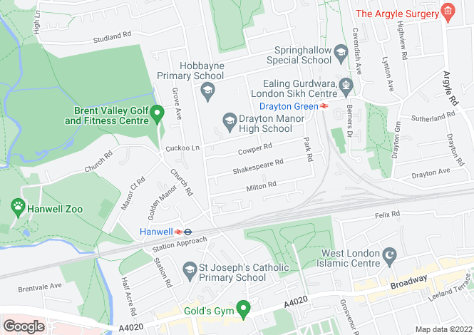 Map for Shakespeare Road, Hanwell
