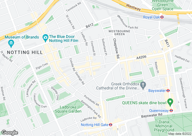 Map for Westbourne Grove, London, W11