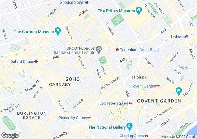 Map for Dean Street, Soho, London, W1D