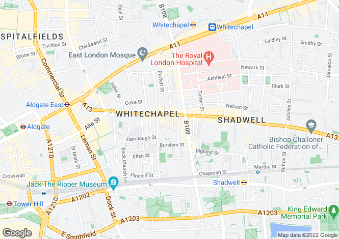 Map for Commercial Road E1