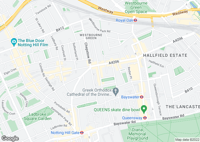 Map for Hereford Road, Notting Hill, London, W2
