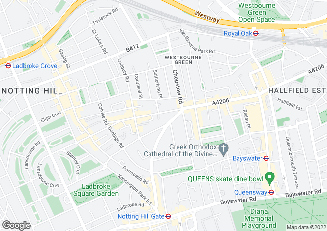 Map for Westbourne Grove, Notting Hill, London, W11