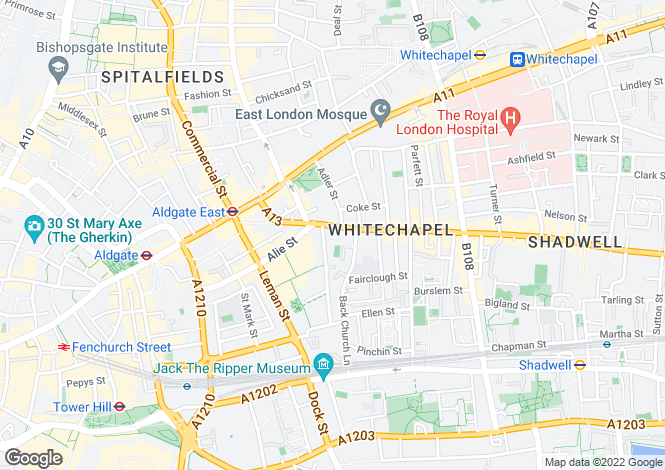 Map for Commercial Rd Aldgate E1