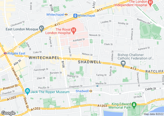 Map for Commercial Road, Whitechapel, E1