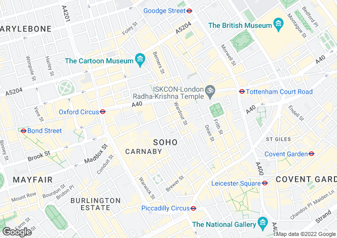 Map for Berwick Street, Soho, London, W1F
