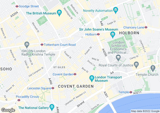 Map for Drury Lane, Covent Garden
