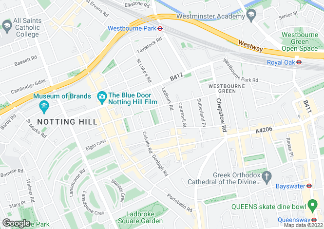 Map for Powis Square, Notting Hill, London, W11