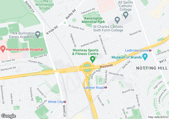 Map for Oxford Gardens, North Kensington