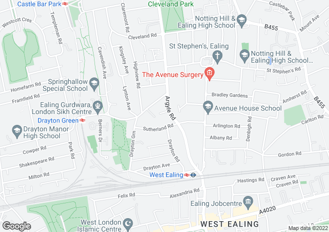 Map for Glenmore Lawns, Argyle Road, Ealing