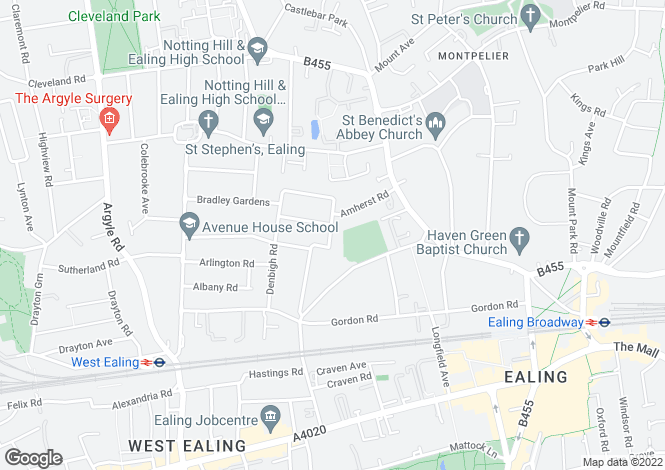 Map for Amherst Road - Ealing