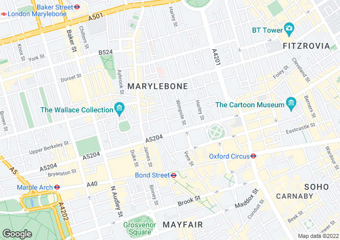 Map for Welbeck Way, Marylebone, London