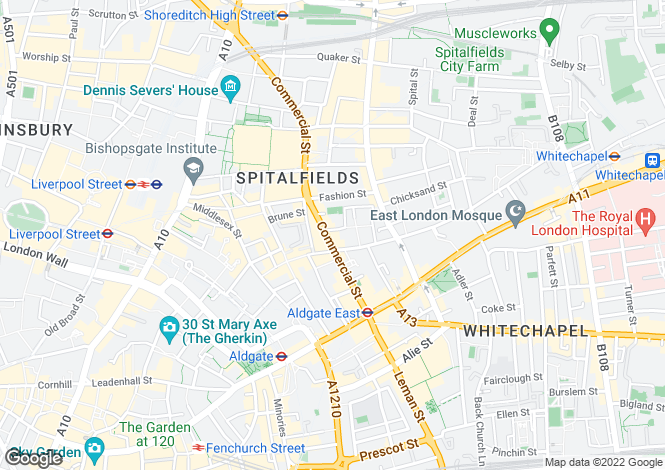 Map for A3 / A2 /A1, Commercial Street, Spitalfield, E1
