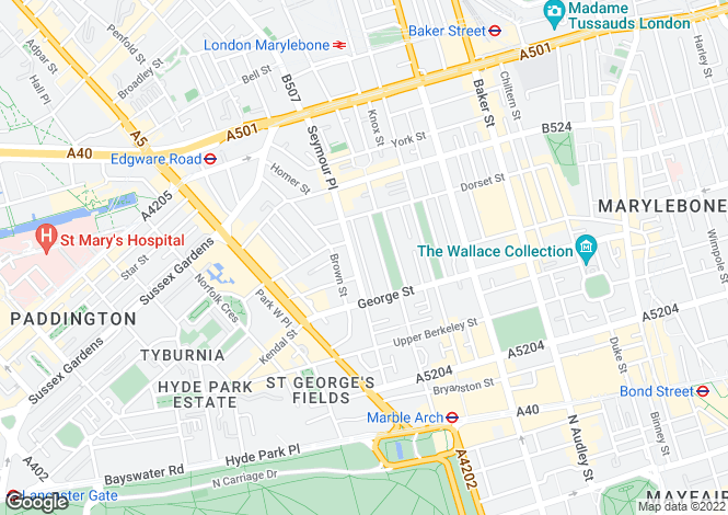 Map for Bryanston Mews West, Marylebone