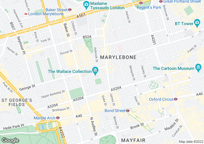 Map for Jacobs Well Mews, Marylebone, London, W1U