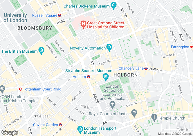 Map for 94 - 99 High Holborn WC1V