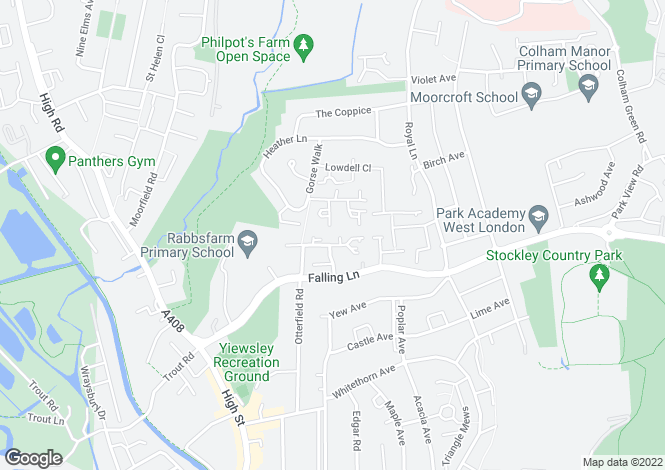 Map for Newcombe Rise, Yiewsley