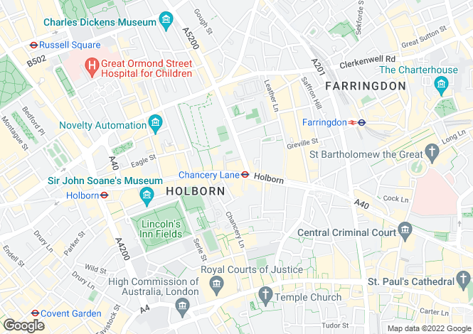 Map for High Holborn, Holborn, WC1V
