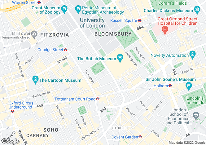 Map for Bedford Square, Bloomsbury, London WC1B 3DP