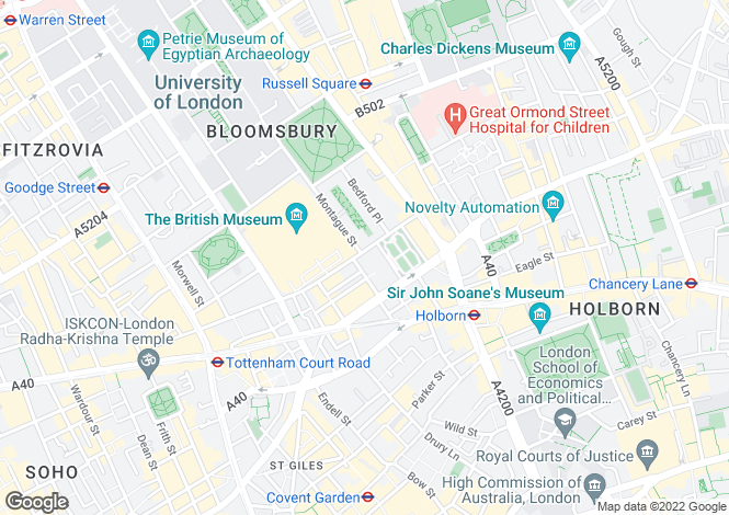 Map for Great Russell Street, London, WC1B