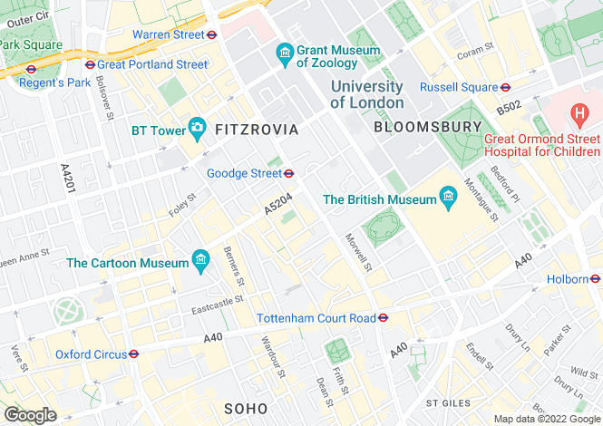 Map for Crabtree Place, Whitfield Street, Fitzrovia, London, W1T
