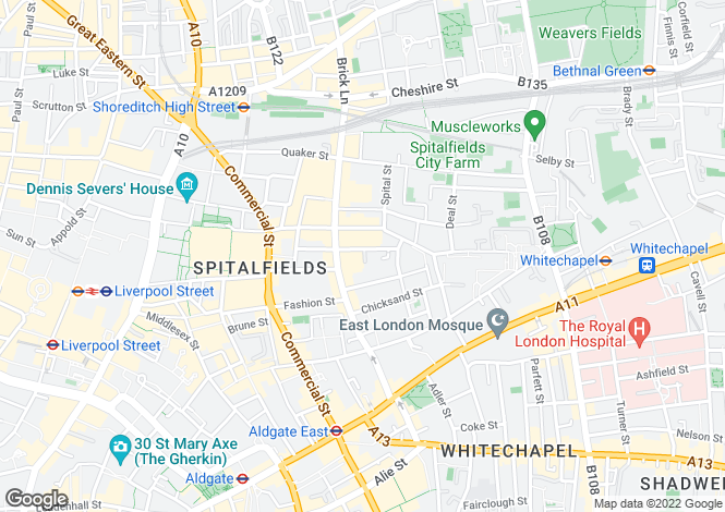 Map for Princelet Street  Spitalfields