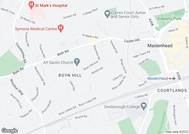 Map for Boyn Hill Avenue, Maidenhead