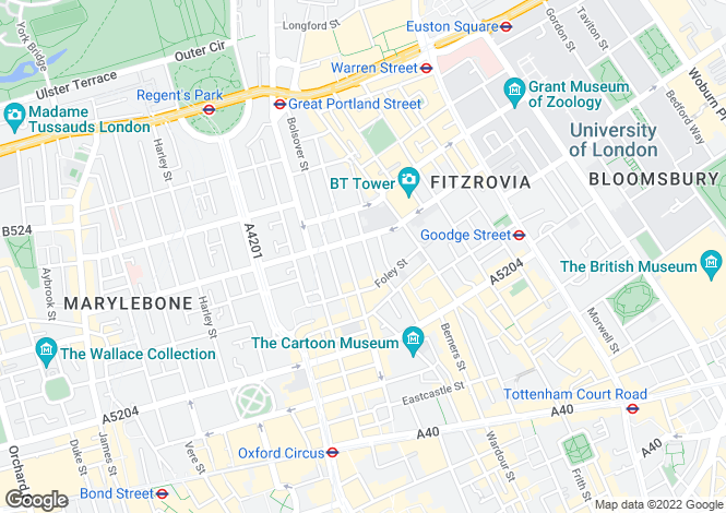 Map for Hanson Street,
