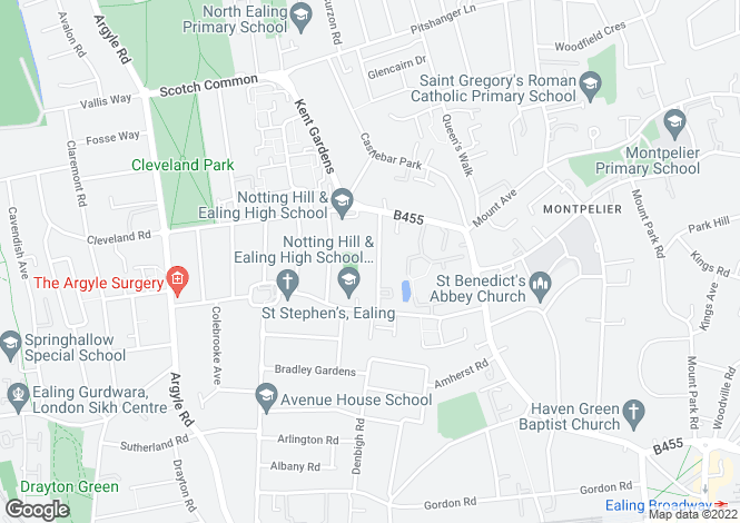 Map for Edgehill Road, London W13