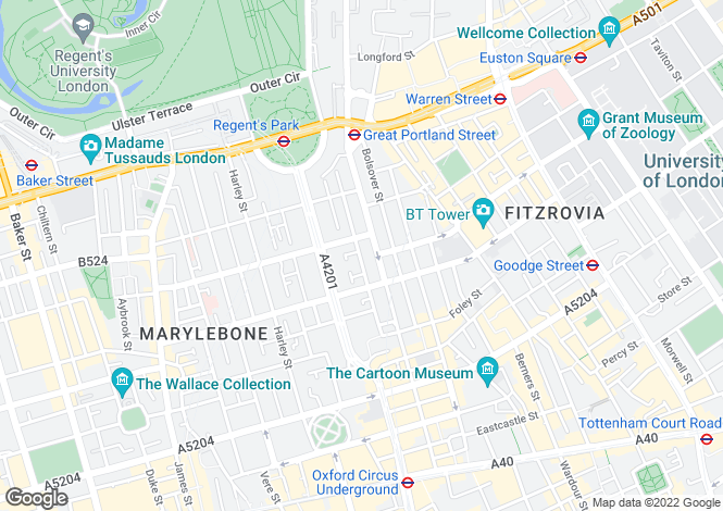 Map for Hallam Street, Marylebone, London, W1W