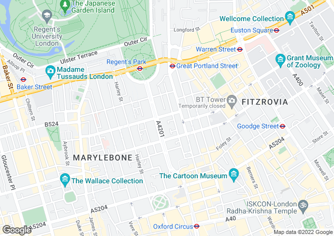 Map for Stone House, Weymouth Street, London, W1W