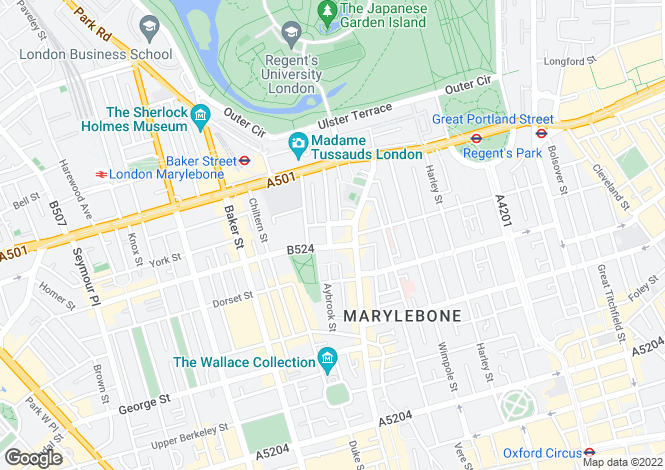 Map for Nottingham Place, Marylebone, London, W1U