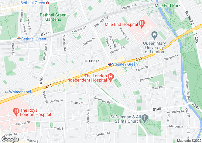Map for Mile End Road  Stepney