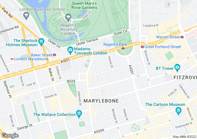Map for Devonshire Place, Marylebone, London W1