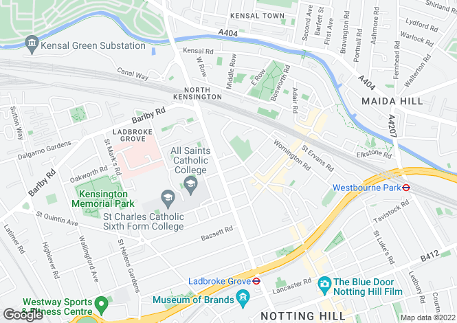Map for Telford Road, Ladbroke Grove, W10