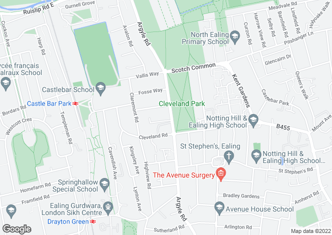 Map for Long Acre Court, Argyle Road, Ealing, W13