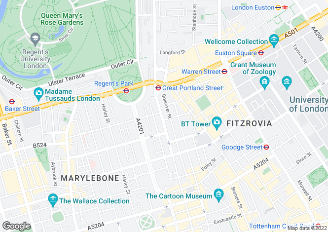Map for Great Portland Street, Fitzrovia / Marylebone, W1W
