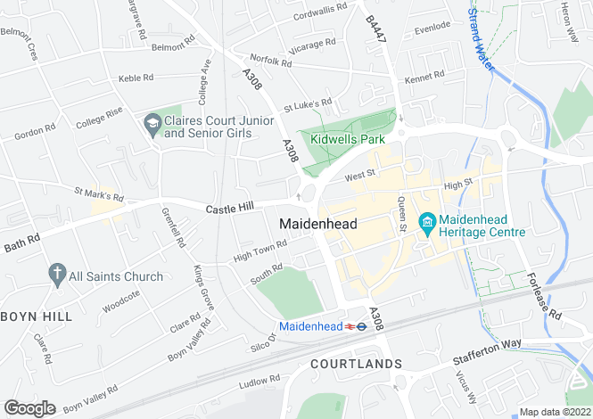 Map for Frascati Way, Maidenhead