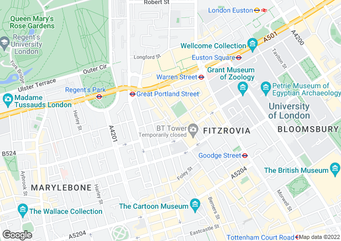 Map for Fitzroy Square, Fitzrovia, London, W1T