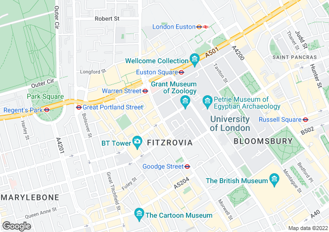 Map for University Street, London